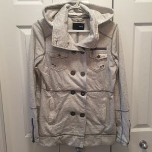 Hurley Peacoat Style Button Up Jacket Grey